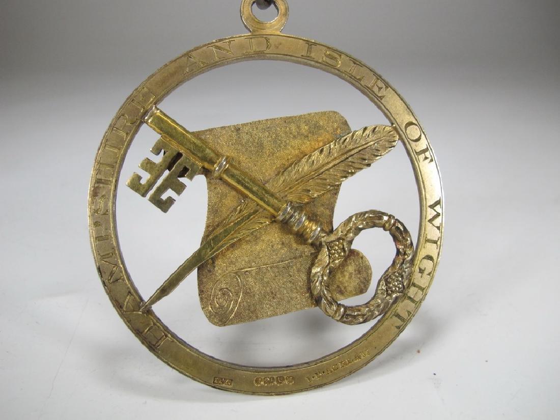 Antique English Masonic gilt silver Treasurer jewel