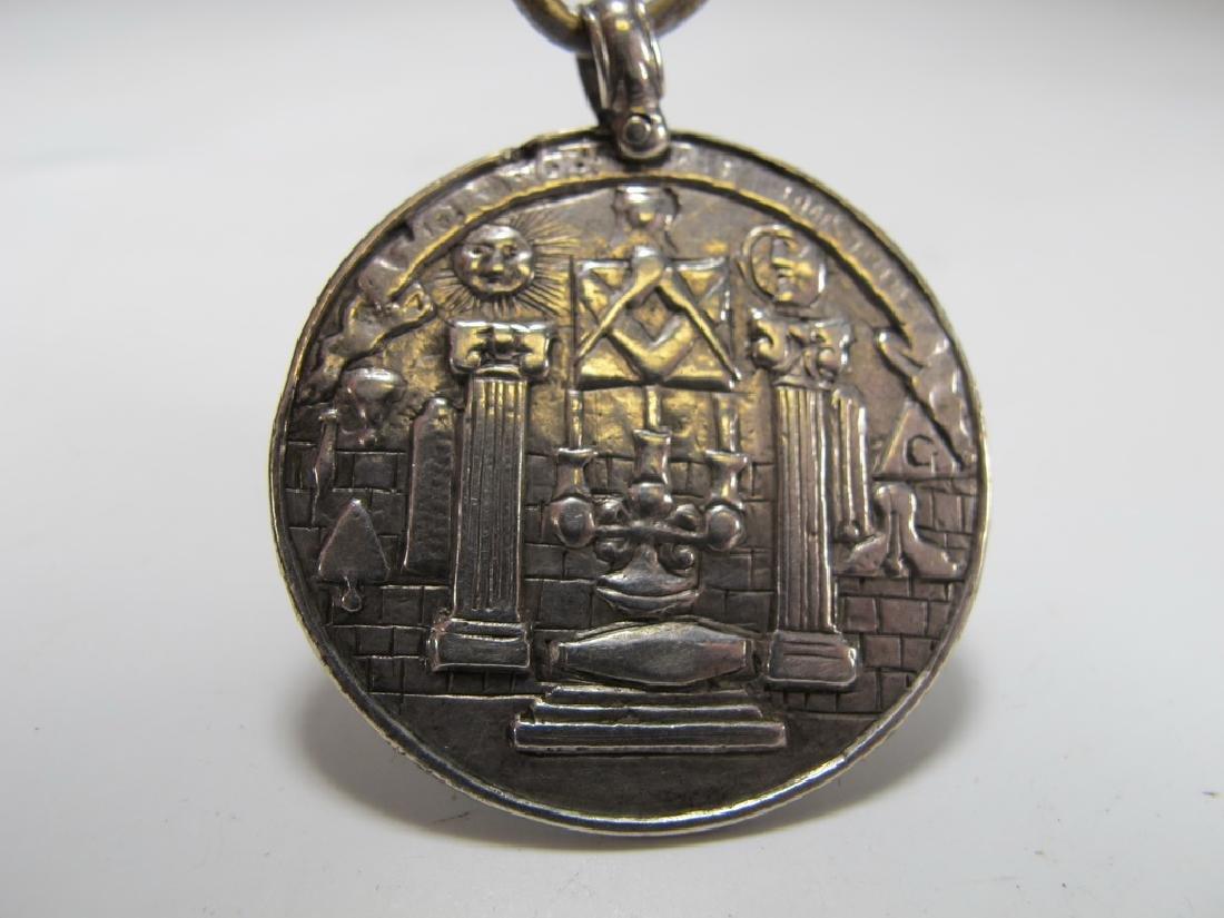 Antique Georgian Masonic sterling jewel pendant - 2