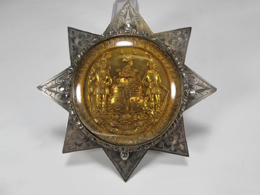 Antique English Order of Foresters silver star brooch