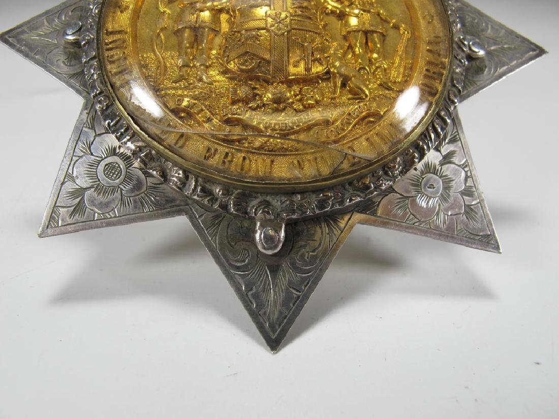 Antique English Order of Foresters silver star brooch - 3