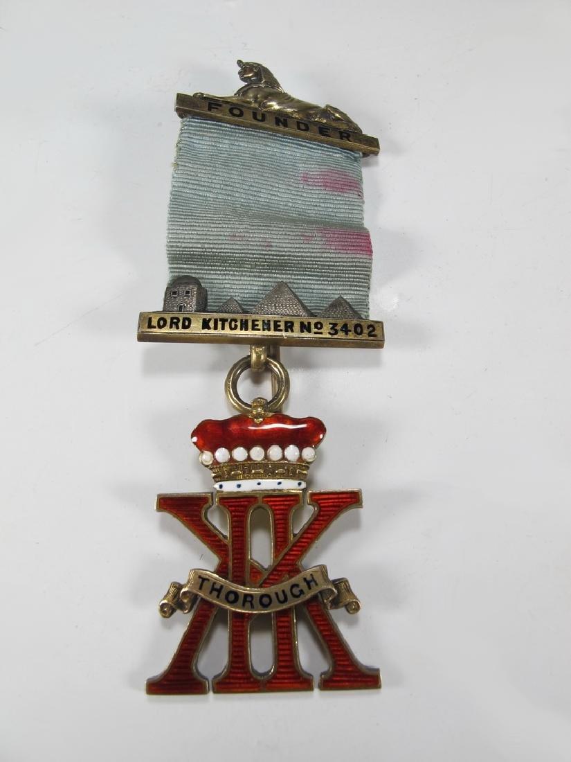 Antique English Masonic enameled jewel brooch