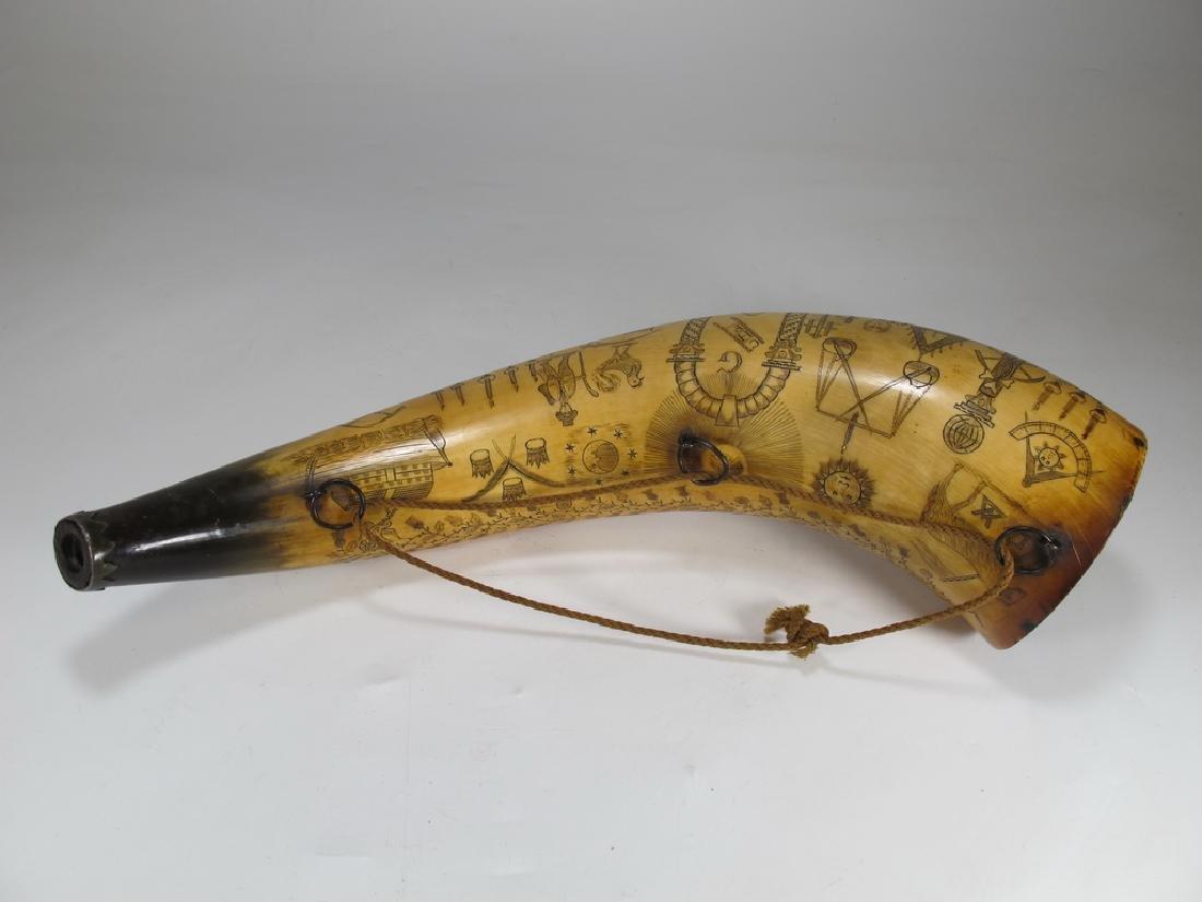 Vintage Masonic Scrimshaw carved powder horn