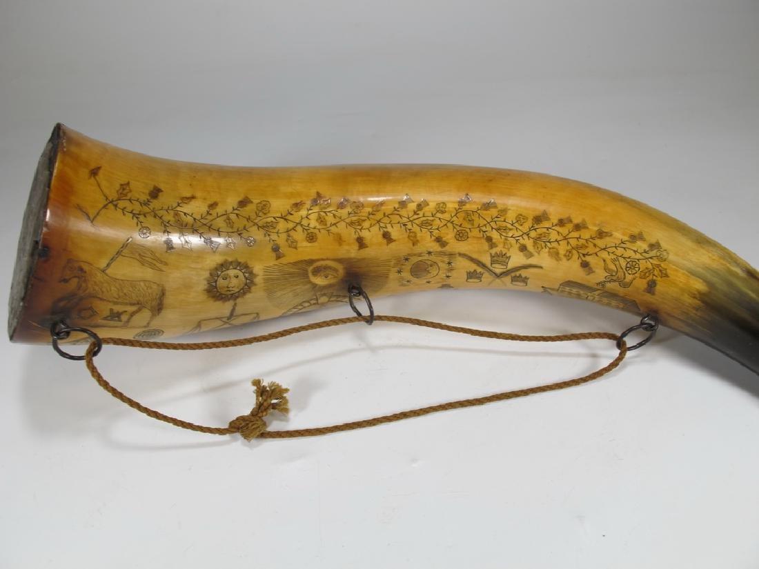 Vintage Masonic Scrimshaw carved powder horn - 5