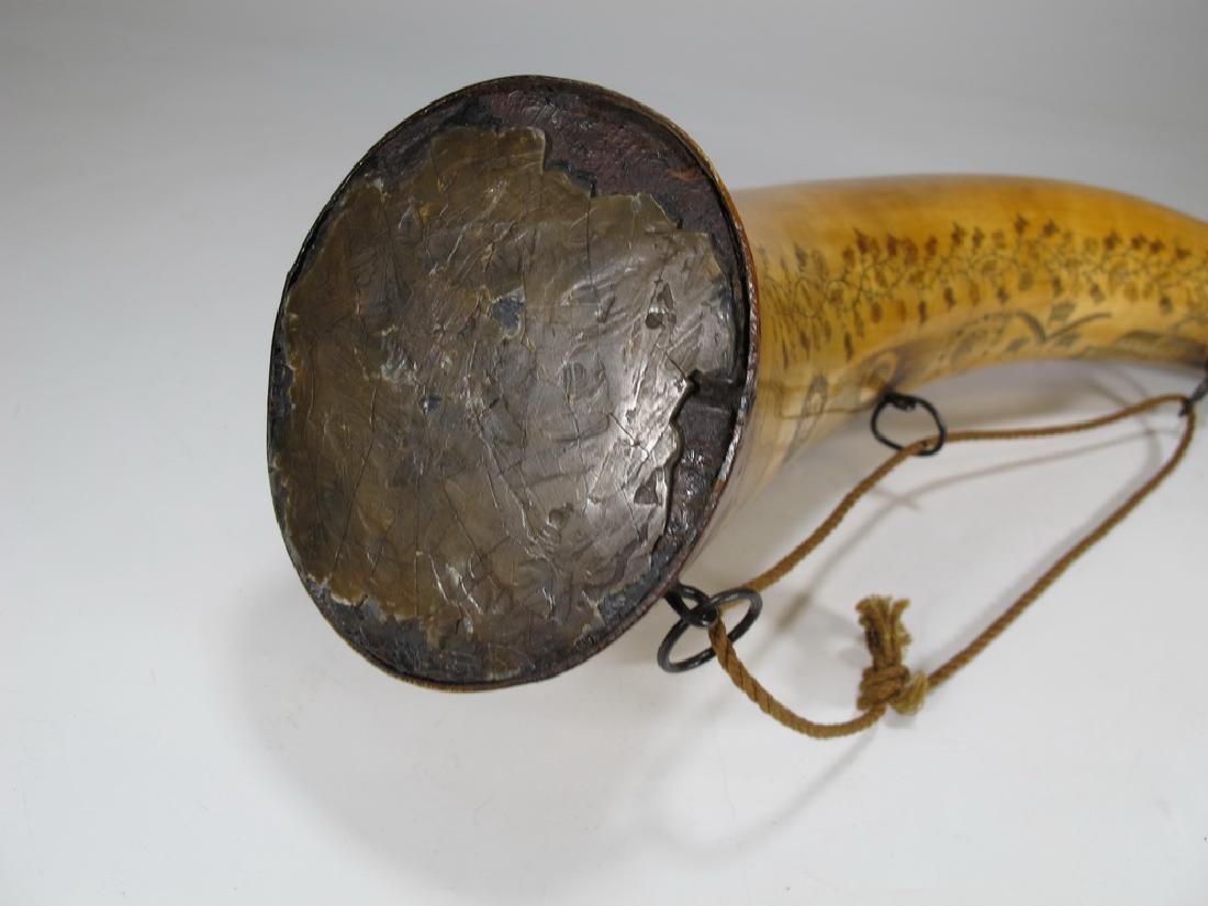 Vintage Masonic Scrimshaw carved powder horn - 6