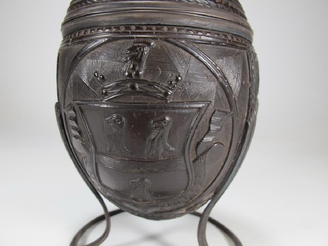 19th C. Masonic white metal mounted cup & cover - 4