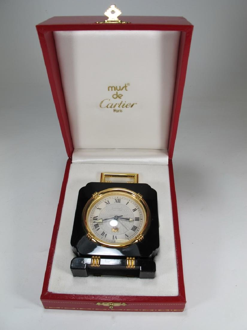 Cartier quartz Swiss black onyx desktop clock
