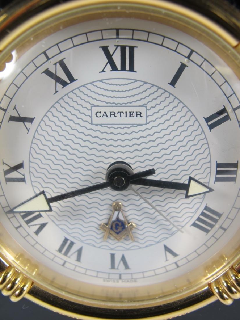 Cartier quartz Swiss black onyx desktop clock - 3