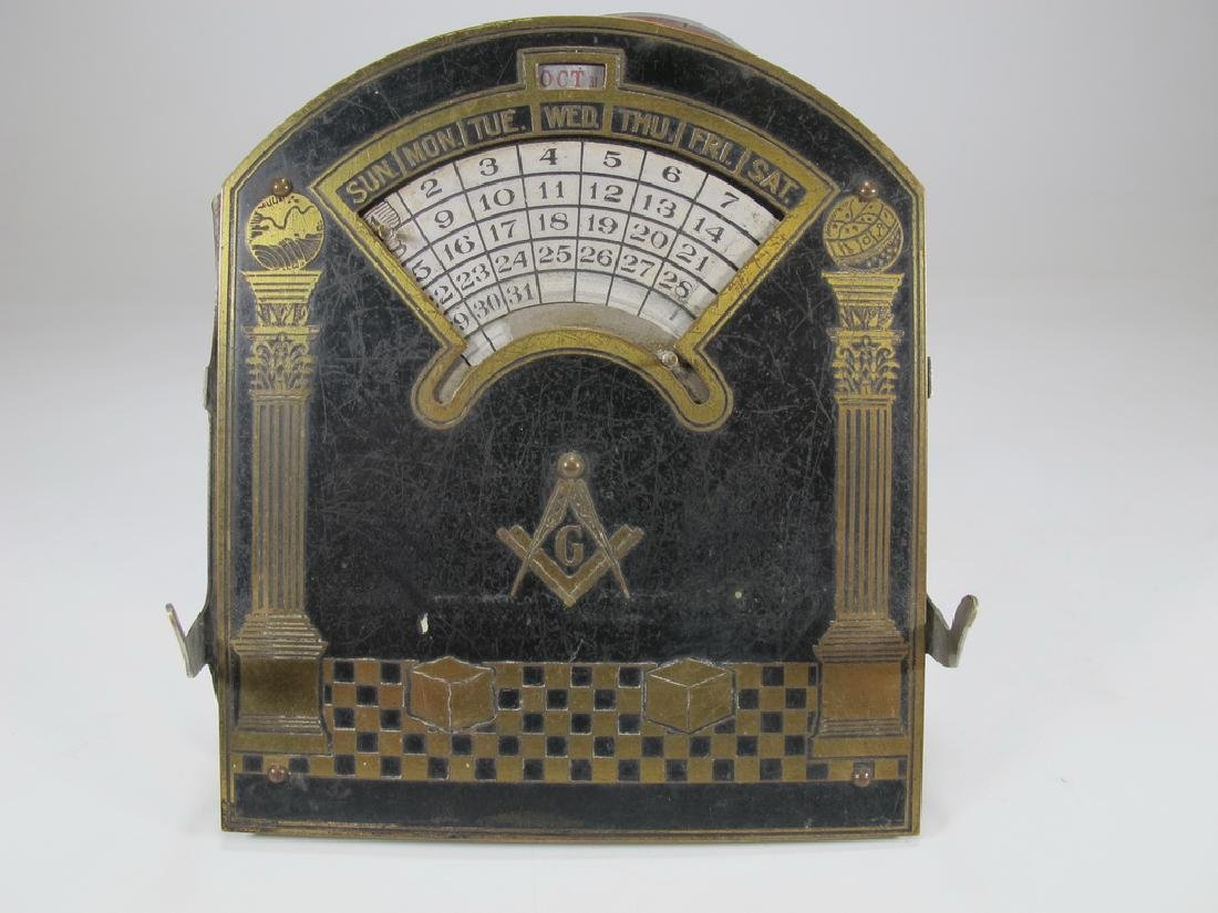Antique Masonic perpetual desk metal calendar
