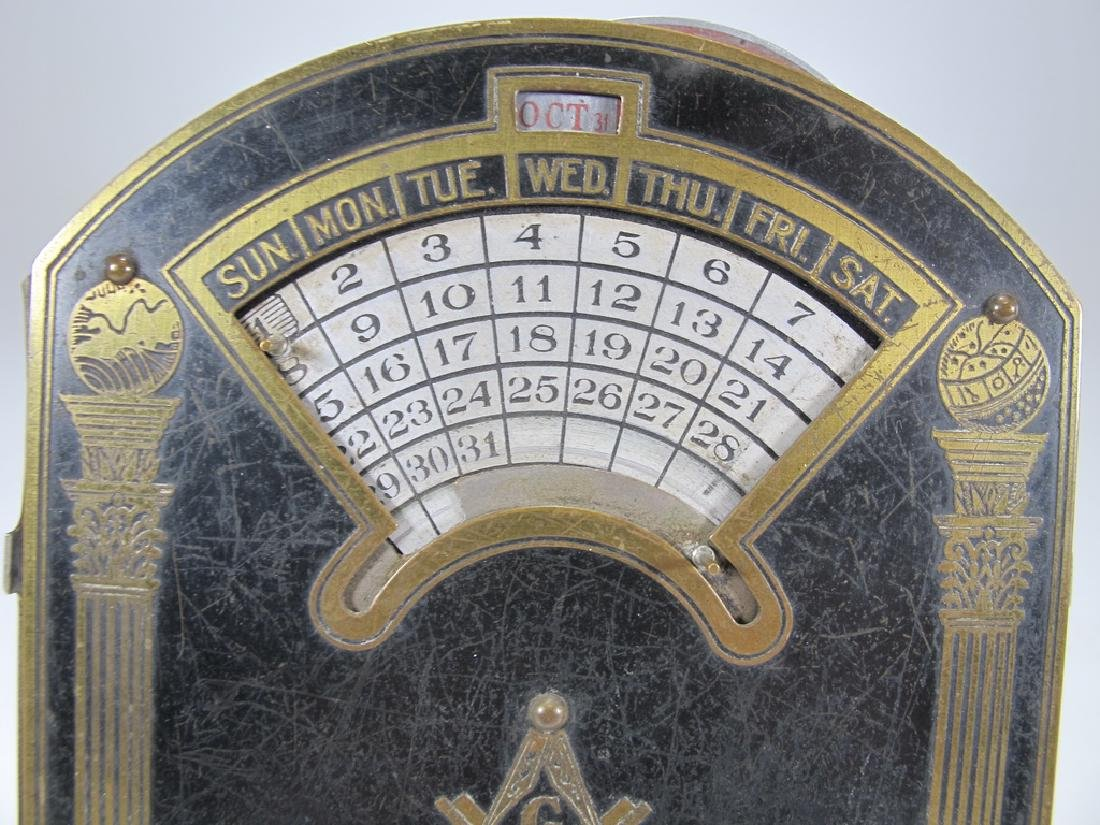 Antique Masonic perpetual desk metal calendar - 2