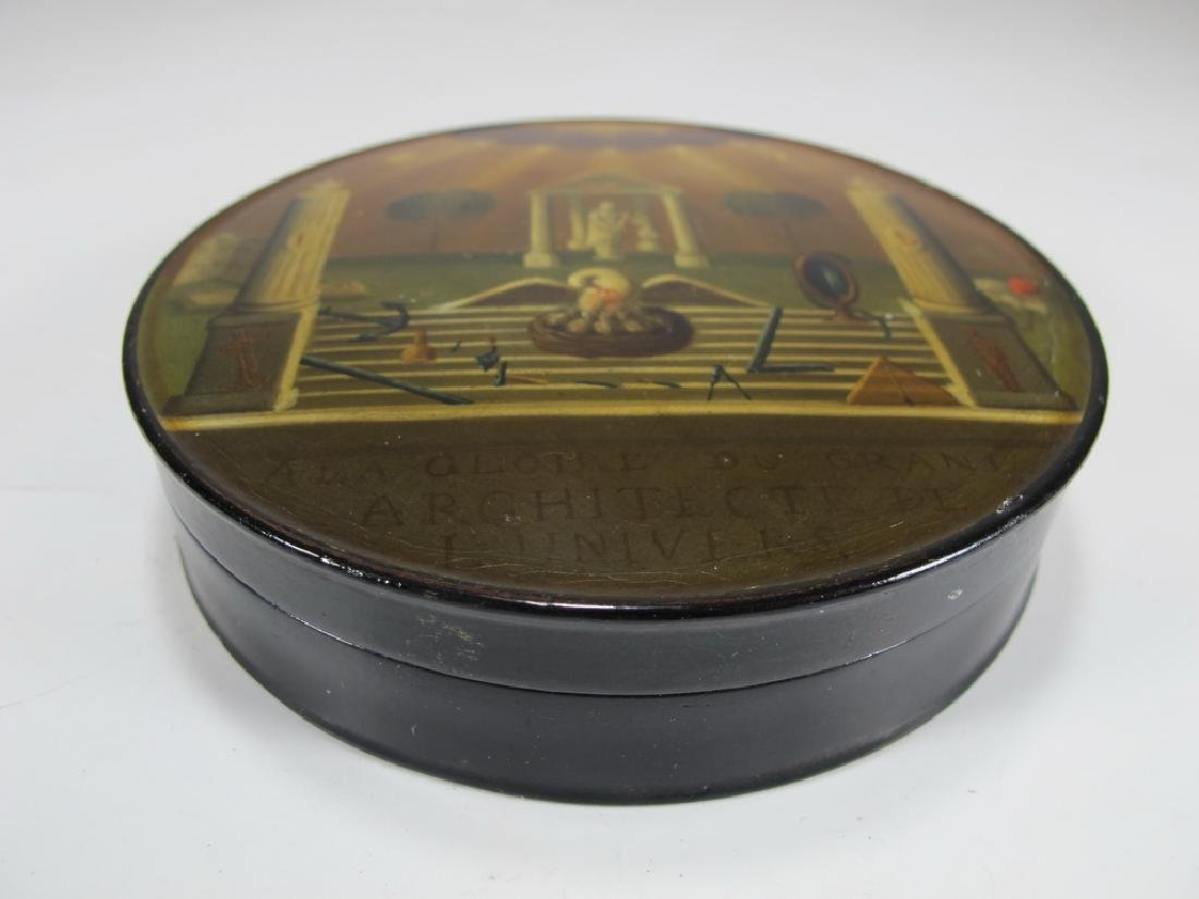 Antique Masonic lacquered round box