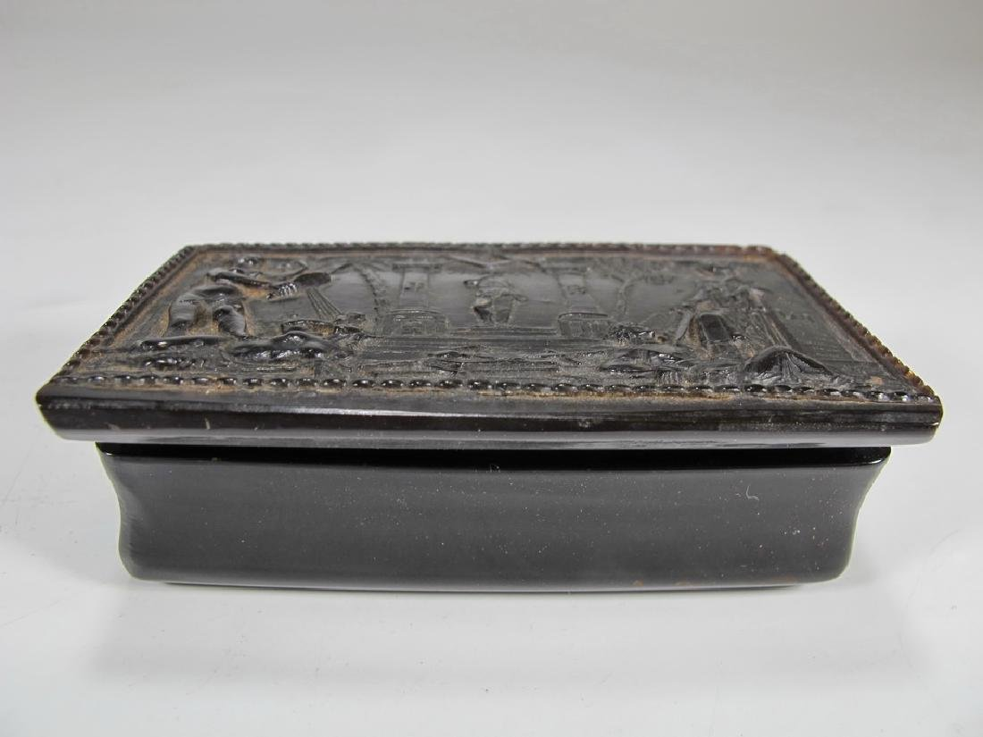 Antique Masonic rectangular horn snuff box