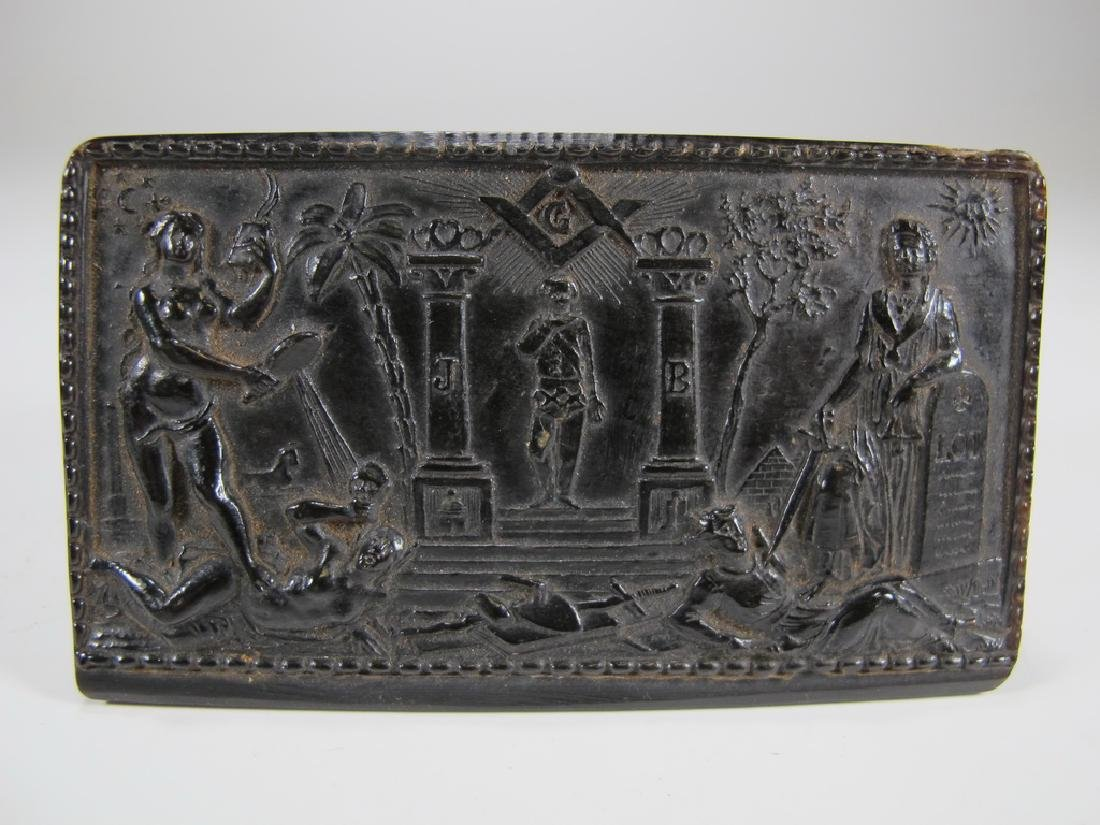 Antique Masonic rectangular horn snuff box - 2