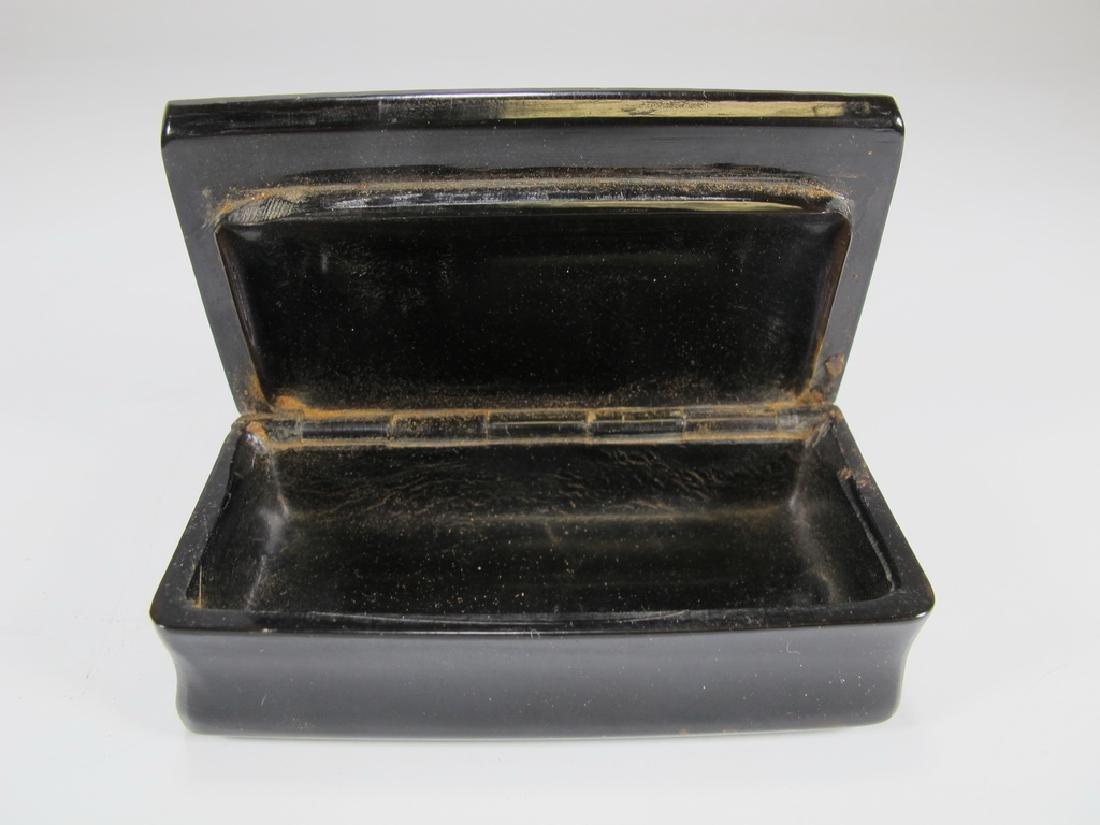 Antique Masonic rectangular horn snuff box - 3