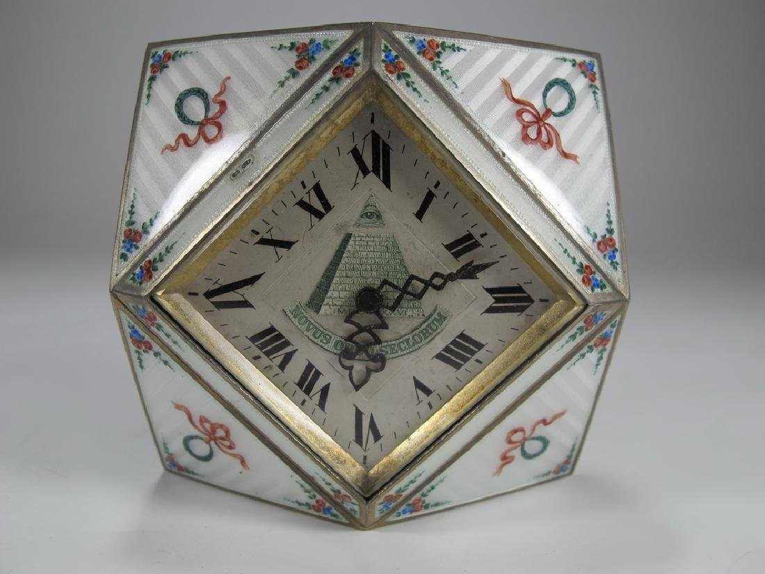 Geneva Clock Co Masonic sterling & enamel desk clock