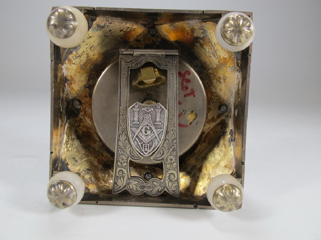 Geneva Clock Co Masonic sterling & enamel desk clock - 3