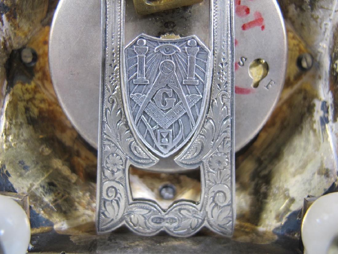 Geneva Clock Co Masonic sterling & enamel desk clock - 4