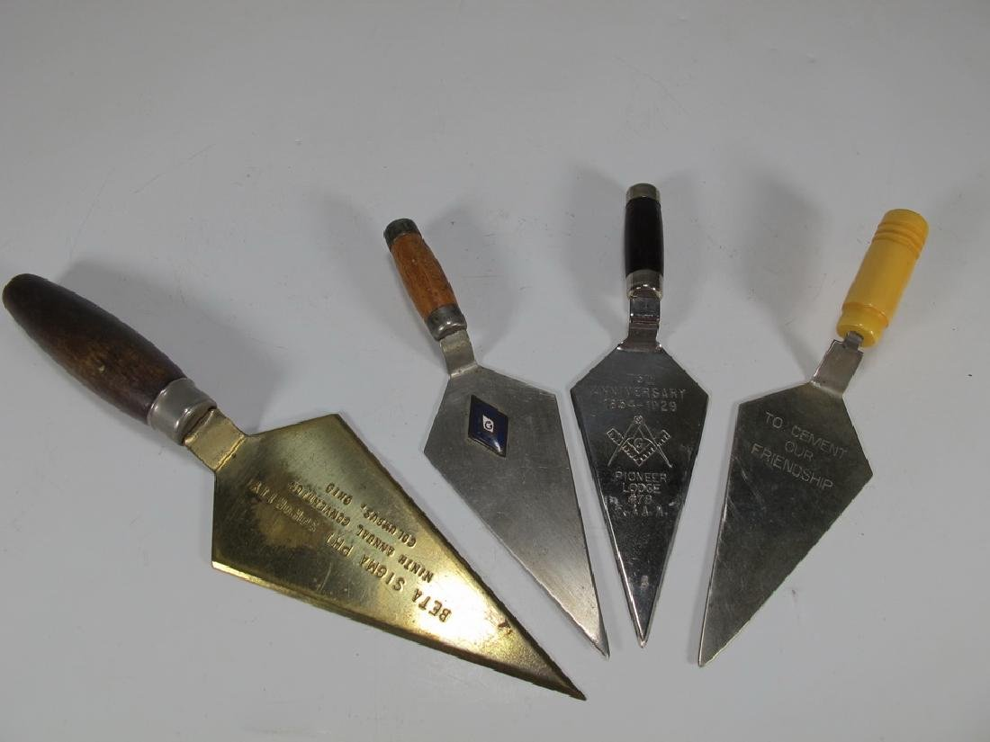 Antique Masonic set of 4 trowels
