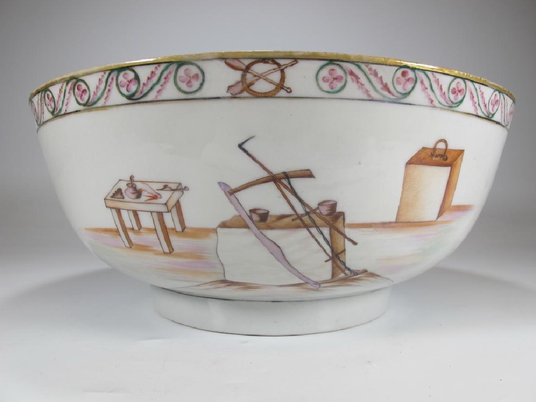 18/19th C. Chinese export Masonic porcelain bowl - 3