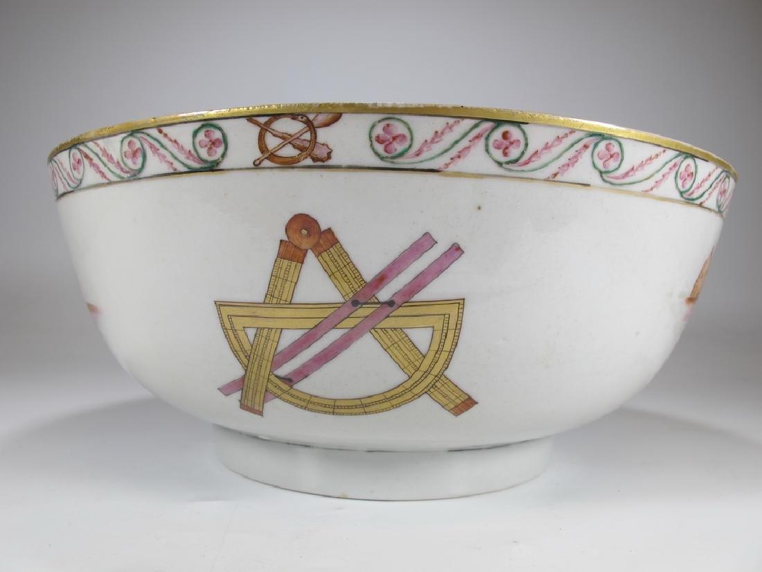 18/19th C. Chinese export Masonic porcelain bowl - 4