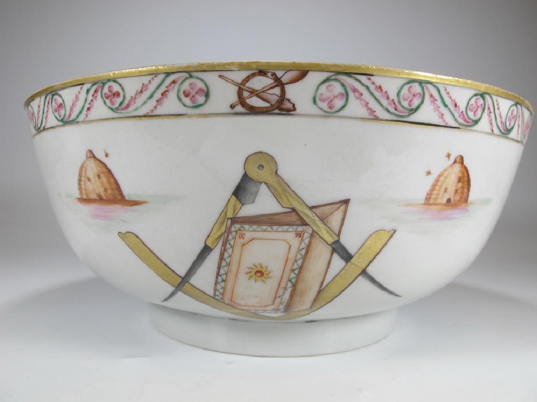 18/19th C. Chinese export Masonic porcelain bowl - 5
