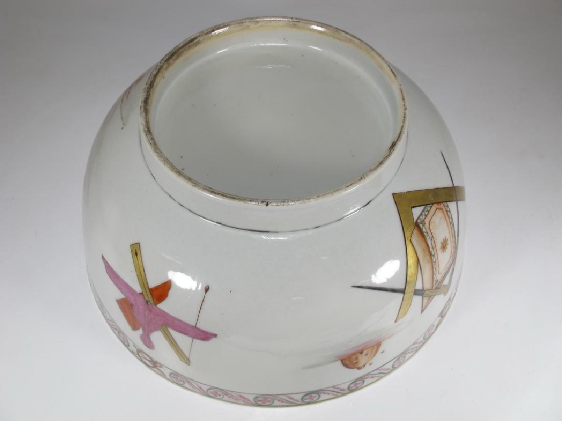 18/19th C. Chinese export Masonic porcelain bowl - 7