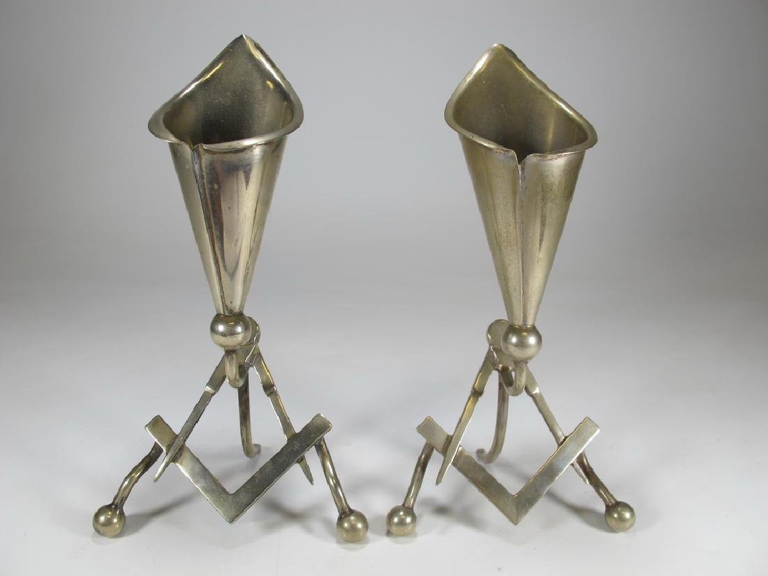 Antique pair of Masonic EPNS electroplated flower vases