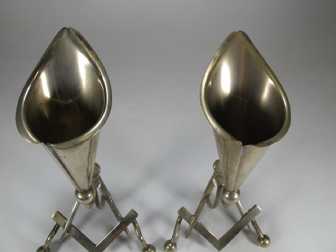 Antique pair of Masonic EPNS electroplated flower vases - 2