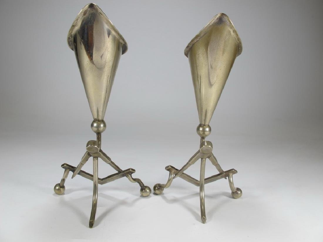 Antique pair of Masonic EPNS electroplated flower vases - 5