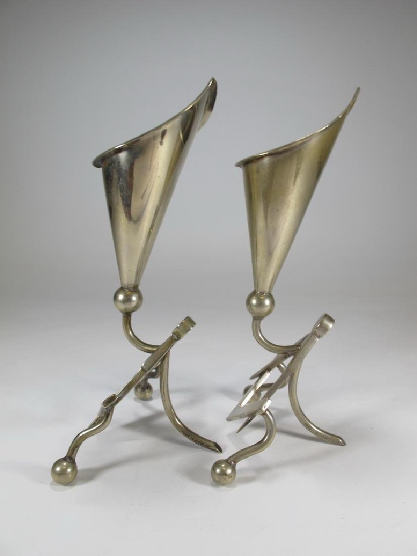 Antique pair of Masonic EPNS electroplated flower vases - 6