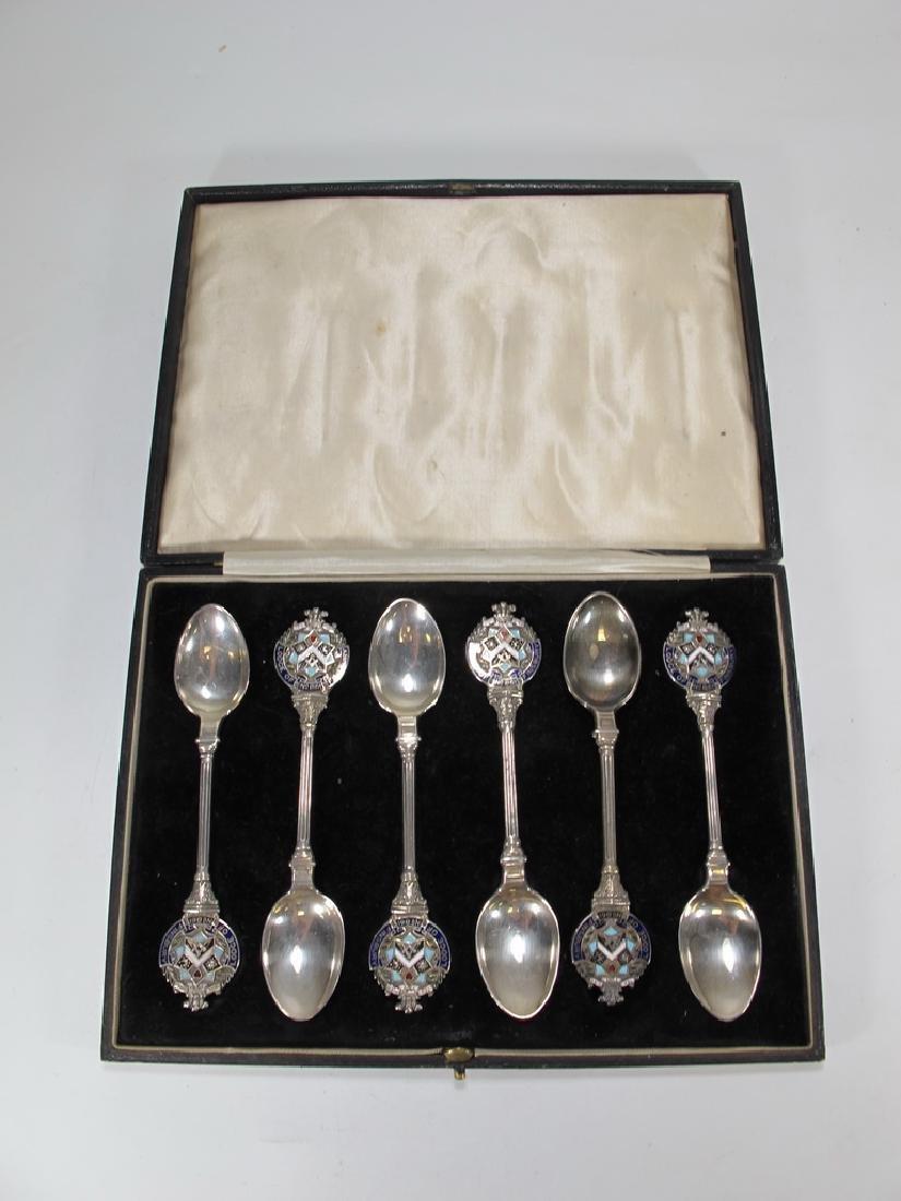 Antique Masonic set of 6 silver spoons circa 1922