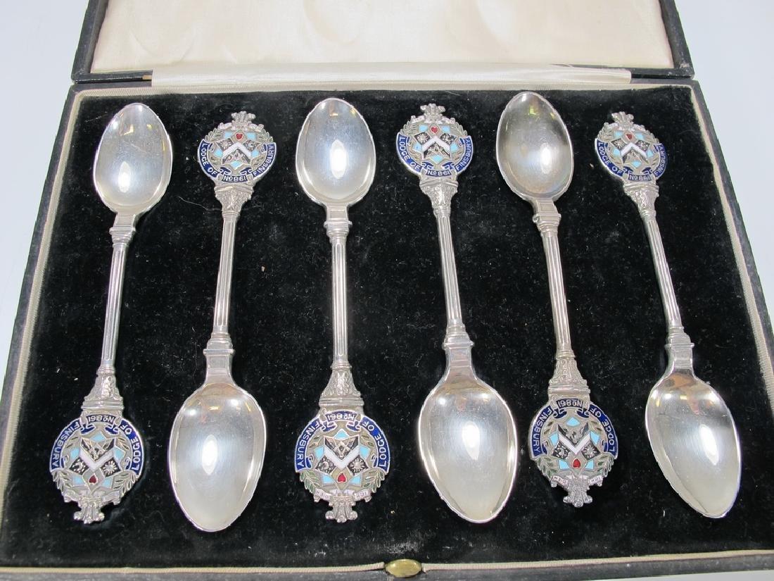 Antique Masonic set of 6 silver spoons circa 1922 - 2