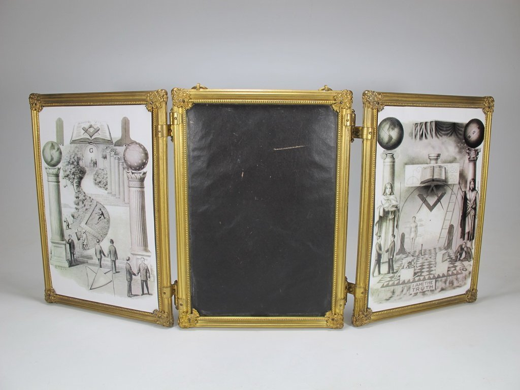 Vintage bronze triptych mirror with Masonic prints