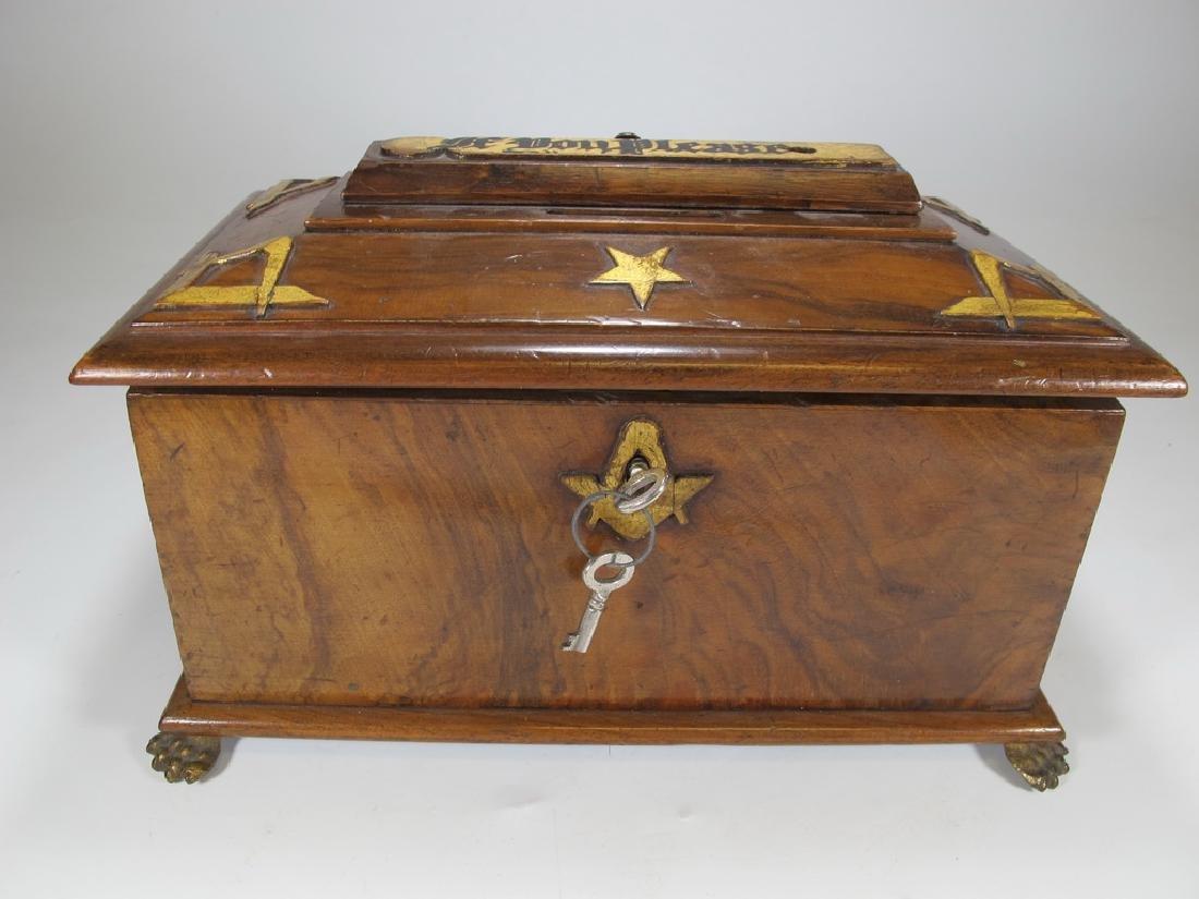 Antique Masonic Georgian Alms wood box