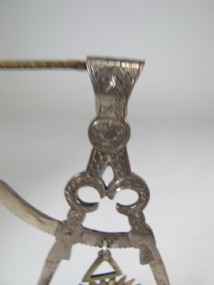 Antique Masonic sterling compass jewel - 2