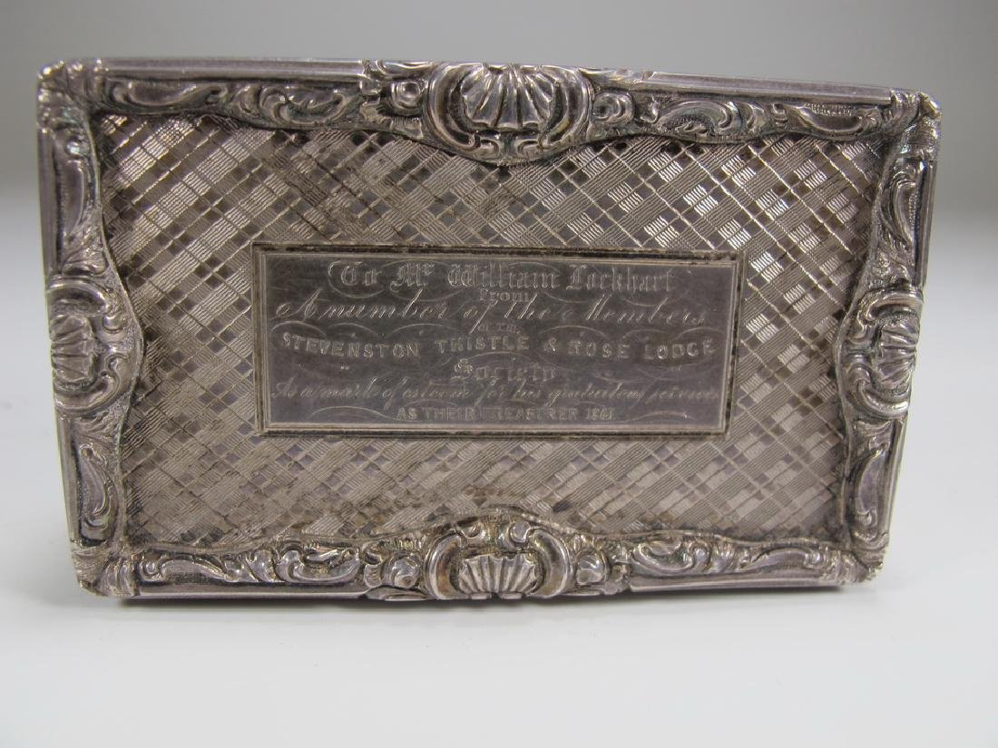 Antique Masonic sterling snuff box - 2
