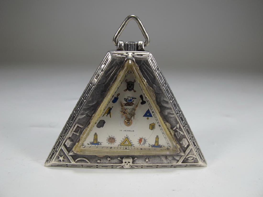 Antique Masonic 925 silver triangular pocket watch