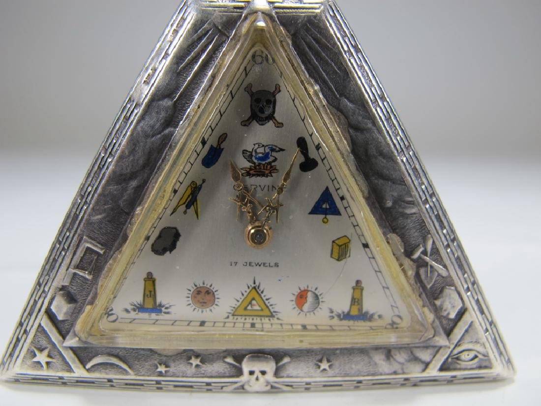 Antique Masonic 925 silver triangular pocket watch - 2