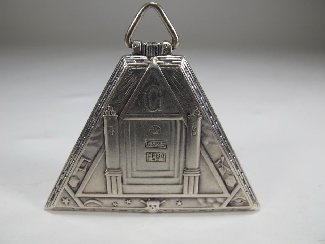 Antique Masonic 925 silver triangular pocket watch - 3