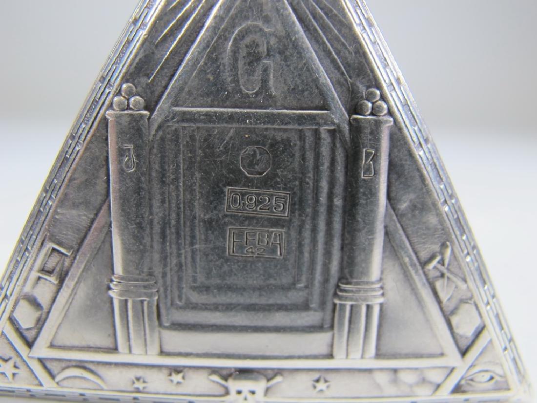 Antique Masonic 925 silver triangular pocket watch - 4