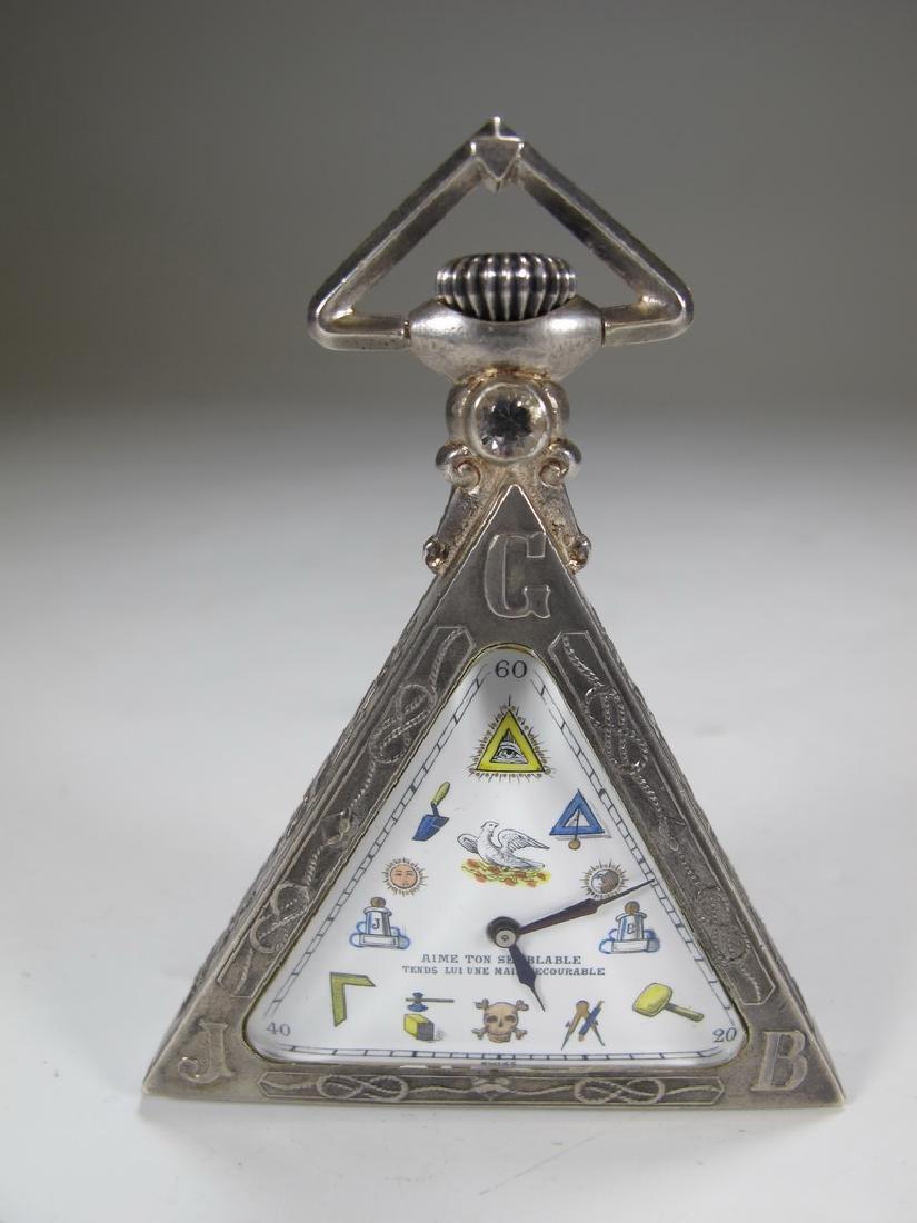 Antique Masonic 800 silver Brevet triangular pocket