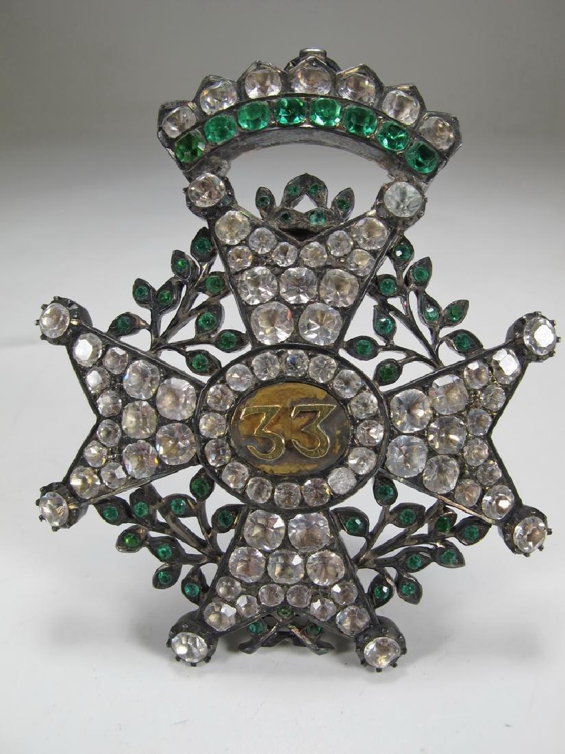 Antique Masonic 800 silver & crystal stones brooch