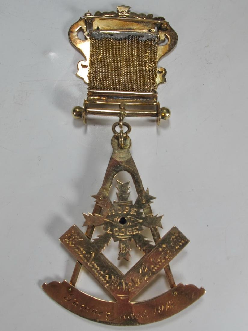 Antique Masonic 14 kt gold breast jewel - 4
