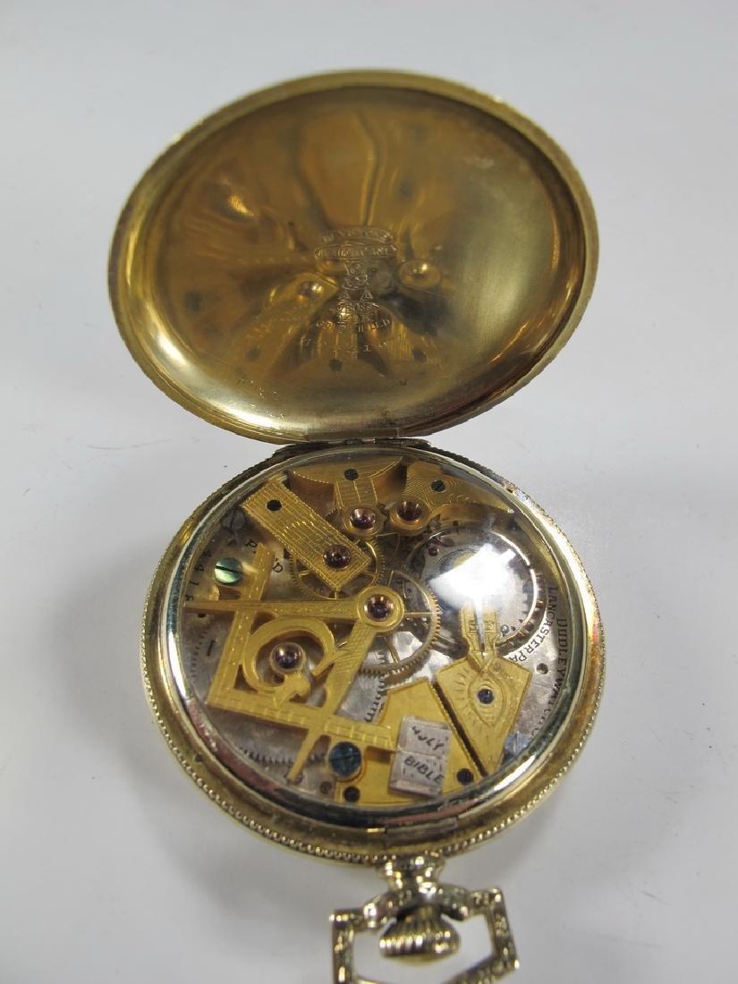Vintage Dudley Masonic 14k gold filled pocket watch - 4