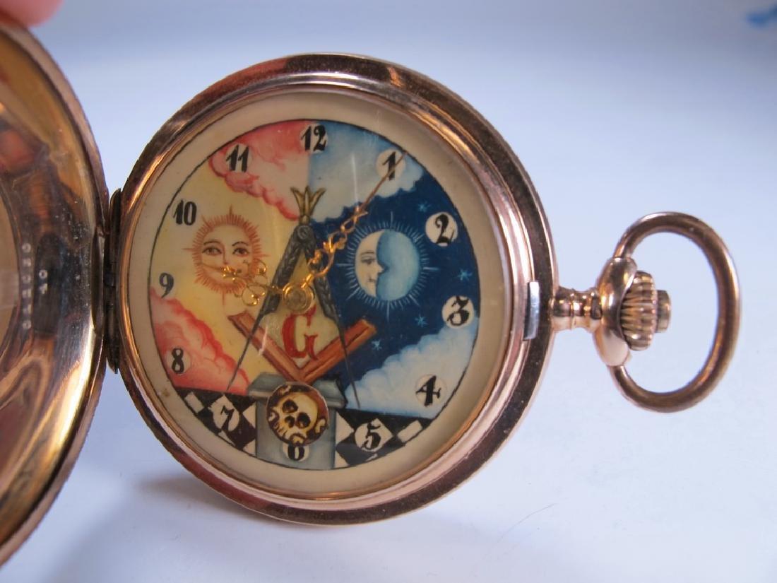 Vintage Masonic 14 k gold case pocket watch