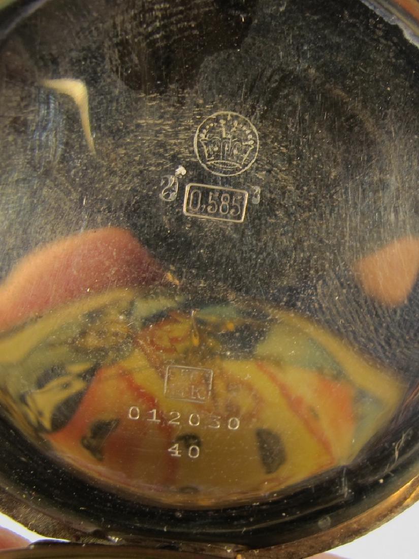 Vintage Masonic 14 k gold case pocket watch - 3