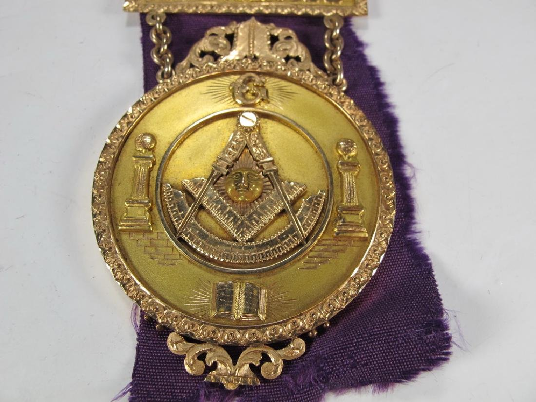 Antique Masonic 12 k gold breast jewel - 3