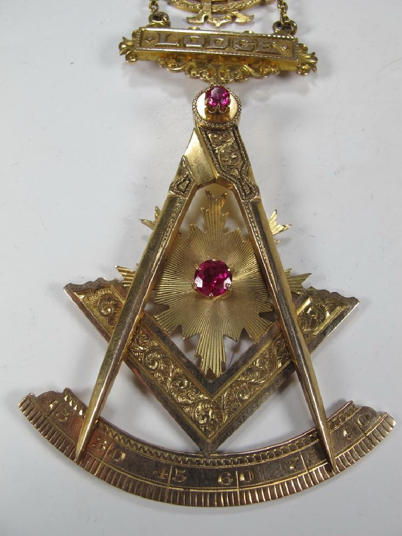 Antique Masonic 9 kt / 10 kt gold breast jewel - 3
