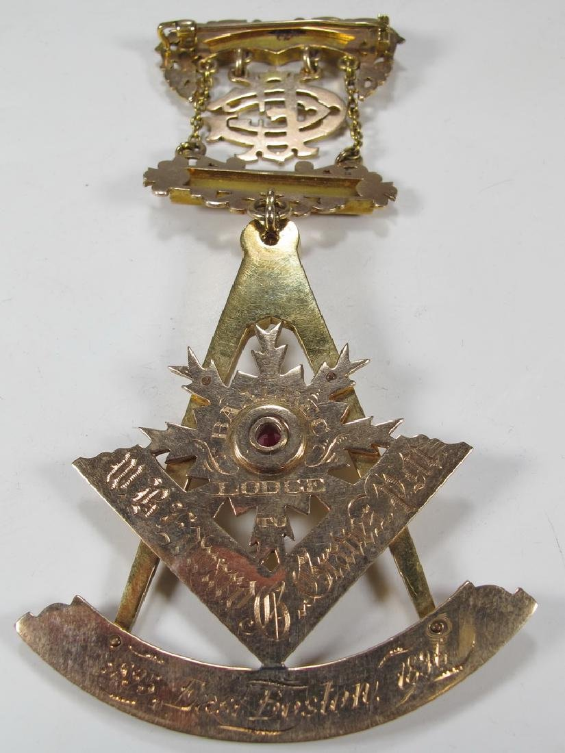 Antique Masonic 9 kt / 10 kt gold breast jewel - 5