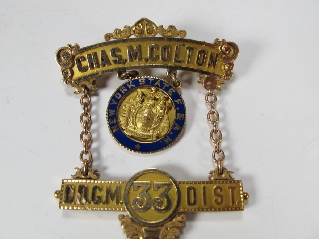 Antique Masonic 14 kt gold Past Master breast jewel - 2