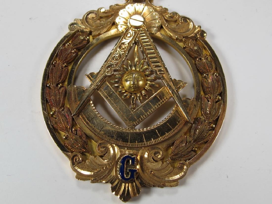 Antique Masonic 14 kt gold Past Master breast jewel - 3